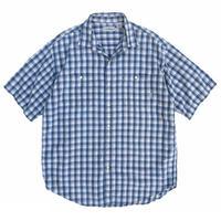 90s L.L.Bean / 2Pocket Cotton Check S/S Shirt / Blue Check / Used