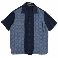"""Silk"" Designed Open Collar Shirt / Navy / Used"
