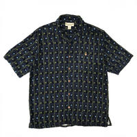 Rayon Patterned Open Collar Shirt / Navy / Used