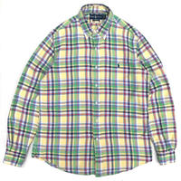 Polo Ralph Lauren / Cotton B.D. Check Shirt / Yellow Green / Used