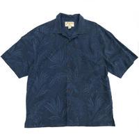 Silk Open Collar Shirt / Navy / Used
