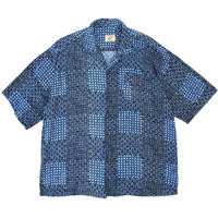 Multi Pattern Open Collar Shirt / Blue / Used
