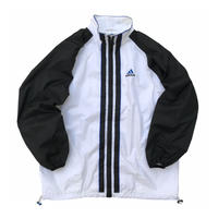 90s adidas / Nylon Sport Jacket / White × Black / Used
