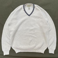 Eddie Bauer / Pullover Cotton V-neck Knit Sweater / Ash / Used