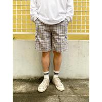 Basic Edition  / Cotton Check Cargo Shorts  / Grey×Blue 36 / Used
