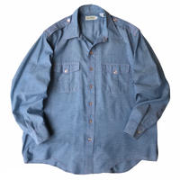 80s L.L.Bean / 2Pocket Chambray Shirt / Lt.Blue / Used