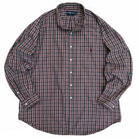 "90's Raph Lauren / TWO-PLY Cotton Multi Checked B.D Shirt ""BLAKE"" / Used"