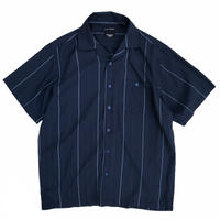 haggar / Striped Open Collar Shirt / Navy / Used