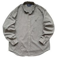 "90's Raph Lauren / Cotton Checked B.D Shirt ""YARMOUTH"" / Olive / Used"
