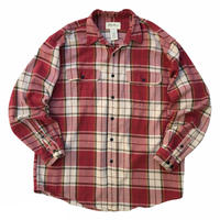 90s Eddie Bauer / Cotton Check Flannel Shirt / Red × White / Used