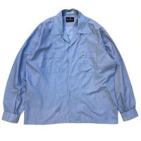70s L/S Open Collar Shirt / Lt.Blue / Used