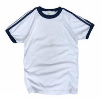 Made in USA / 80's 3Line Trim Tee / White / Used