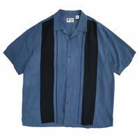 BI-Color Open Collar Shirt / Blue × Black  / Used