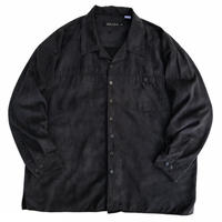 """Open Collar Suede L/S Shirt """"XXXL"""" / Black / Used"""