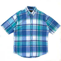 80s Eddie Bauer / S/S B.D. Shirt / Blue Check / Used