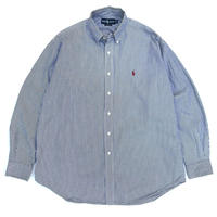 "Ralph Lauren / Cotton B.D.Striped Shirt ""BLAKE"" / White × Navy / Used"