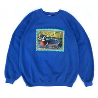 Made in USA /  90'S Duck Printed Sweat / Blue / Used