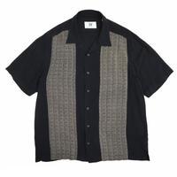 """Rayon"" Designed Open Collar Shirt / Black / Used"
