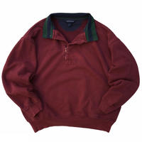 LANDS'END / Half Zip Cotton Sweat / Burgundy / Used