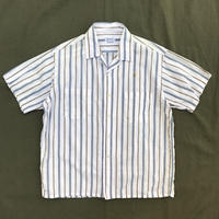 Made in JAPAN / 60s Vintage Open Collar Stripe Shirt / Navy Stripe / Used
