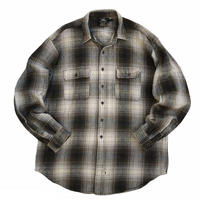 90s RRL / Shadow Check Heavy Cotton Shirt / Navy × Brown / Used
