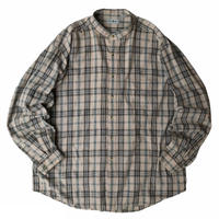90s L.L.Bean / Cotton Multi Checked Stand Collar Shirt / Beige / Used