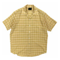 70-80's Sears / Open Collar Check Shirt / Yellow / Used