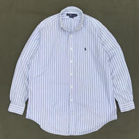 "Ralph Lauren / Cotton B.D.Striped Shirt ""YARMOUTH"" / White × Navy × Blue / Used"