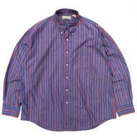 80s L.L.Bean / Cotton B.D Stripe Shirt / Navy × Burgundy / Used