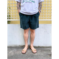 Easy Check Shorts  / Forest × Navy / Used