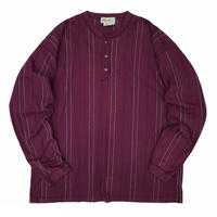 Made in USA / 90's Eddie Bauer / Striped Henley Neck L/S / Purple / Used