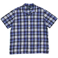 "Polo Ralph Lauren / Cotton Open Collar Check Shirt ""ANDYCAMP"" / Blue Check / Used"
