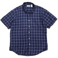 90s L.L.Bean / B.D. Check Linen Shirt / Navy / Used