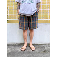 Easy Check Shorts  / Forest × Red × Yellow / Use
