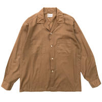 60-70s TOWN CRAFT / Open Collar Shirt / Camel / Used