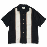 Multi-Color Open Collar Shirt / Black × Ivory × Brown  / Used