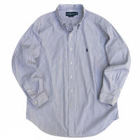 """90's Raph Lauren / Cotton Striped B.D Shirt """"Classic Fit"""" / Purple × Navy / Used"""