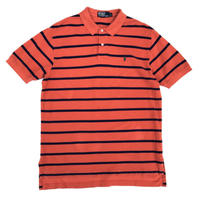 Polo Ralph Lauren / H/S Border Polo Shirt / Orange ×Navy / Used
