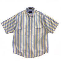 80s Eddie Bauer / S/S Cotton Stripe Shirt / Navy × Yew / Used