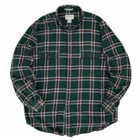 90's Eddie Bauer / 2 Pocket Cotton Multi Checked B.D. Shirt / Forest XL / Used