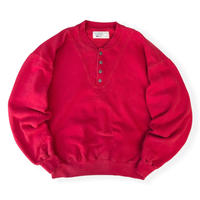 Made in USA / 80's L.L.Bean × Russell Athletic / Henley Neck Sweat / Red XL / Used