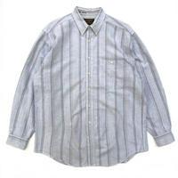 80s Eddie Bauer / L/S Stripe Shirt / Lt.Gray / Used