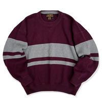 80's Eddie Bauer / Border Cotton Knit / Burgundy L / Used