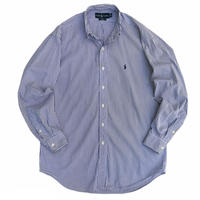"90's Raph Lauren / Cotton Striped B.D Shirt ""BLAKE"" / Purple / Used"