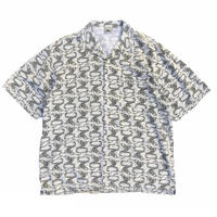 Made in USA / Dragon Patterned Open Collar Shirt / Natural / Used