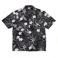 Made in Hawaii / Cotton Polyester Patterned Open Collar Shirt / Black / Used