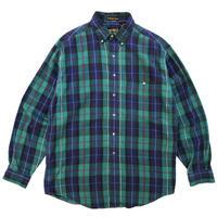 80s Eddie Bauer / B.D Flannel Shirt / Navy × Green Check / Used