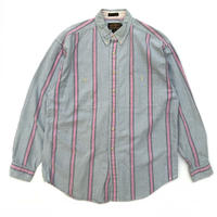 80s Eddie Bauer / L/S Stripe Shirt / Green × Pink / Used