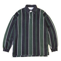 00s Eddie Bauer / Striped Polo Shirt / Navy × Green / Used
