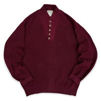 Made in USA / 80's L.L.Bean / Henley Neck Cotton Knit / Burgundy L / Used